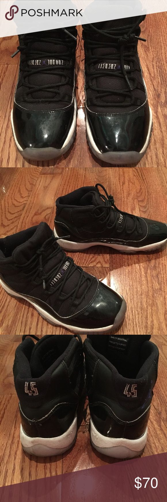 💪🏽 Jordan Retro 11 SpaceJams 💪🏽 All black Jordan sneakers ... minor wear ...minor dirt stains ...always taking offers!!! Jordan Shoes Sneakers