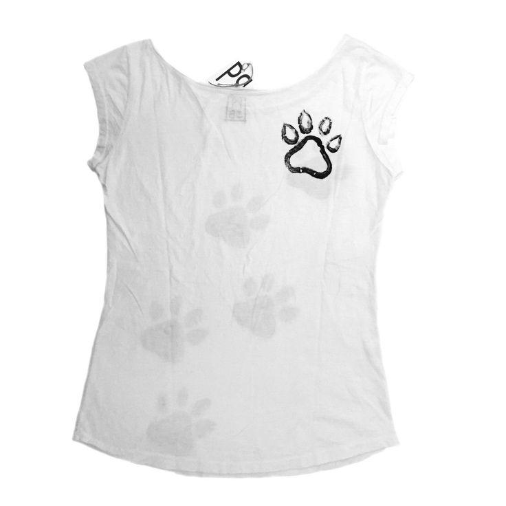 retro della gattosa t-shirt handmade con zampette www.gattosi.com