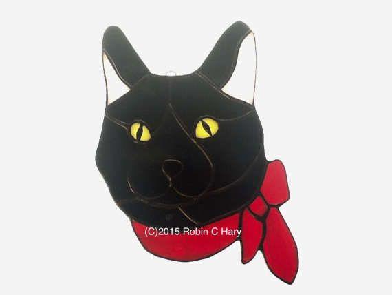 Amerikaanse kortharige kat gebrandschilderd glas Suncatcher