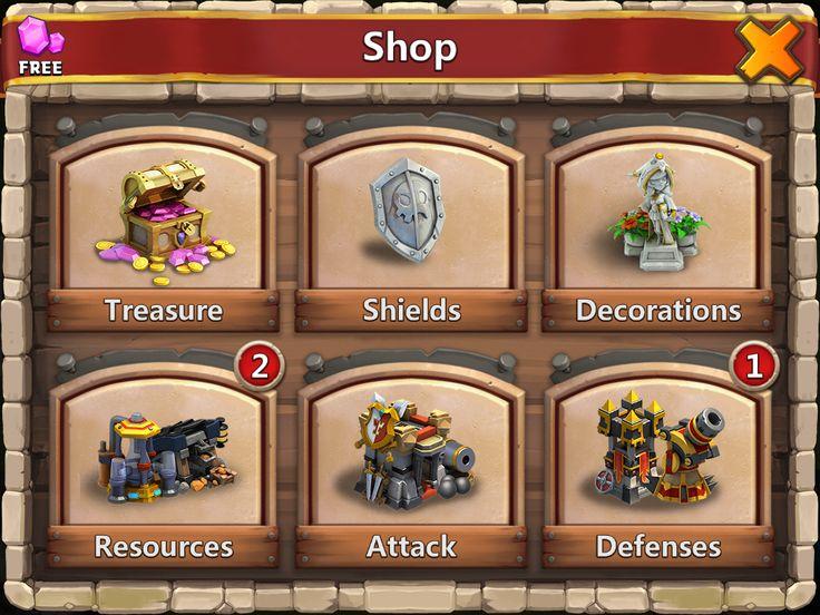 Castle Clash by IGG - Shop General Main Screen - UI HUD User Interface Game Art GUI iOS Apps Games