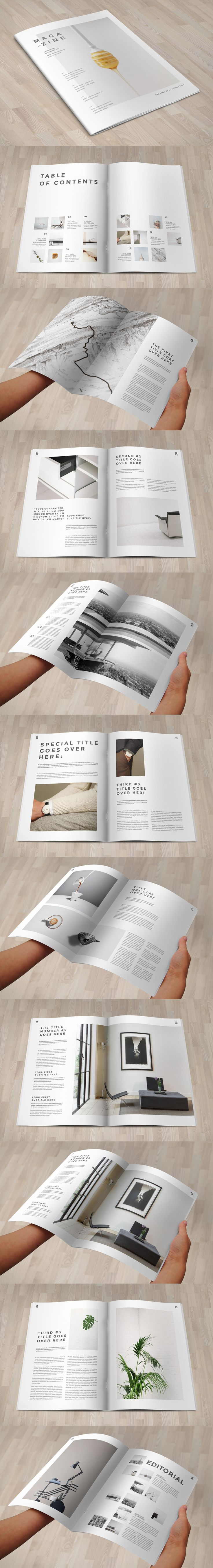 Minimal Cool White Magazine Template INDD - 20 Custom Pages