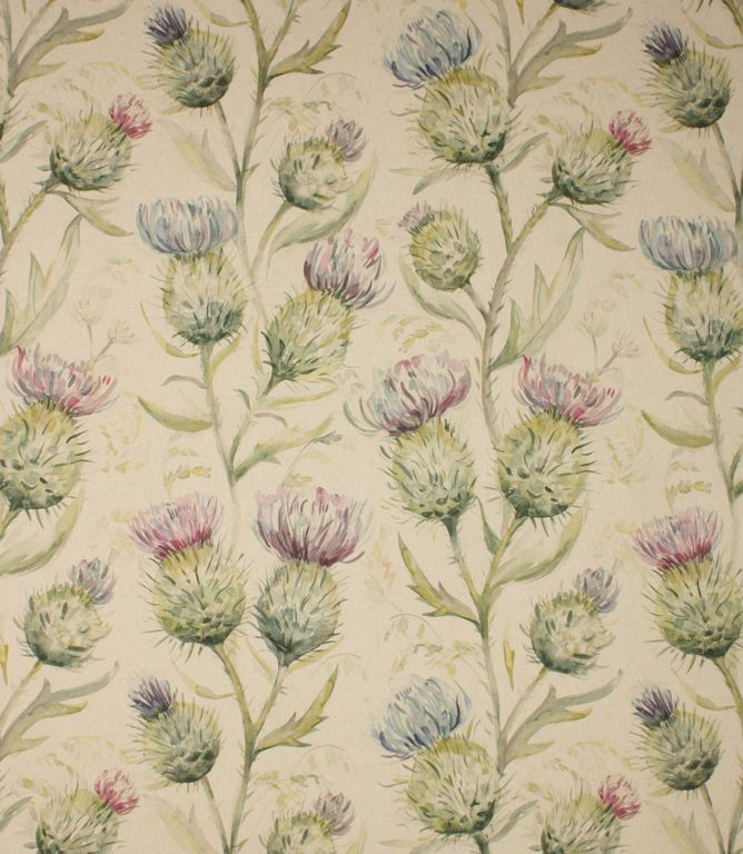 Thistle Glen fabric is a stunning thistle fabric with a high quality watercolour design printed onto a linen/cotton mix base cloth. A beautiful curtain fabric it can also be used as a blind fabric or for cushions. Co-ordinating table stool and cushion available. For more tips on creating a highland theme, visit our highland collection.