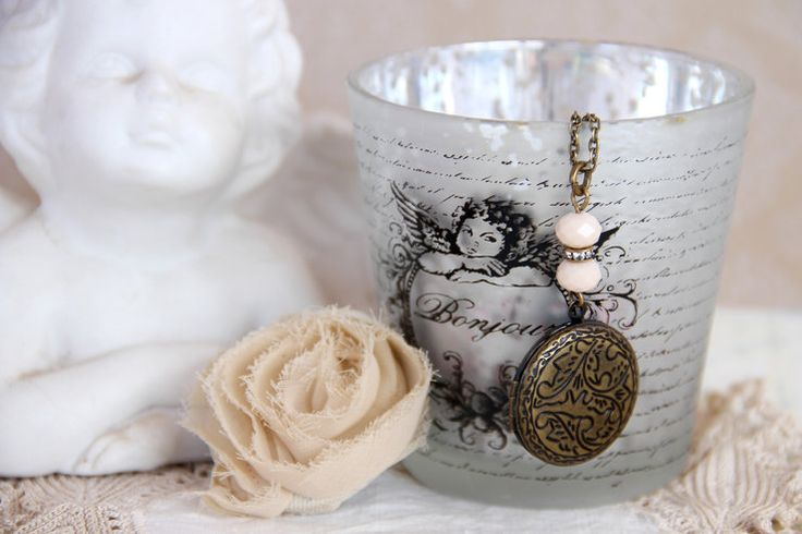 Antique bronze photo locket necklace by Heart Jewelry Creations