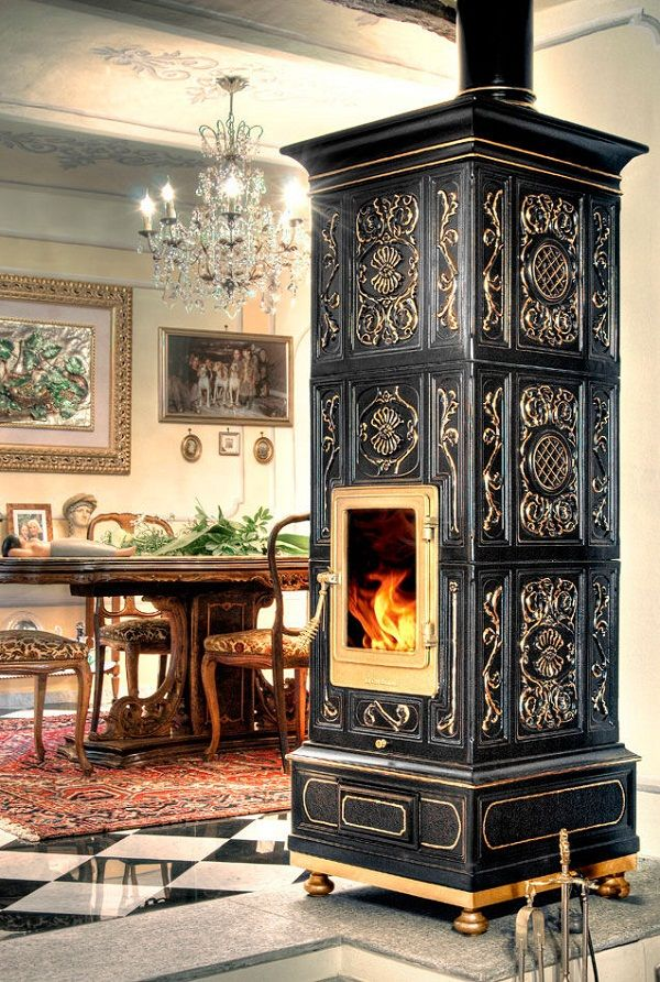 Decorative wood stoves by La Castellamonte with romantic appearance