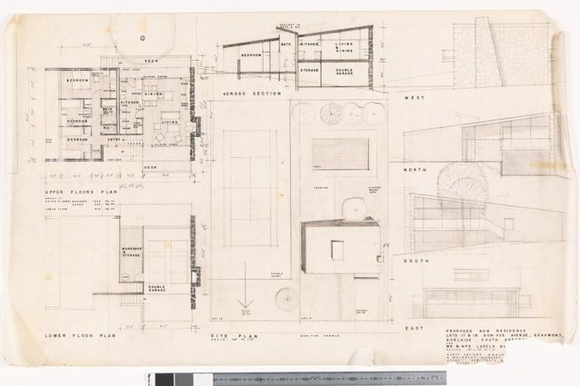 Harry Seidler's original drawings of the Ghillanyi House (1957-1959). Image: State Library of NSW - PXD 613/51.