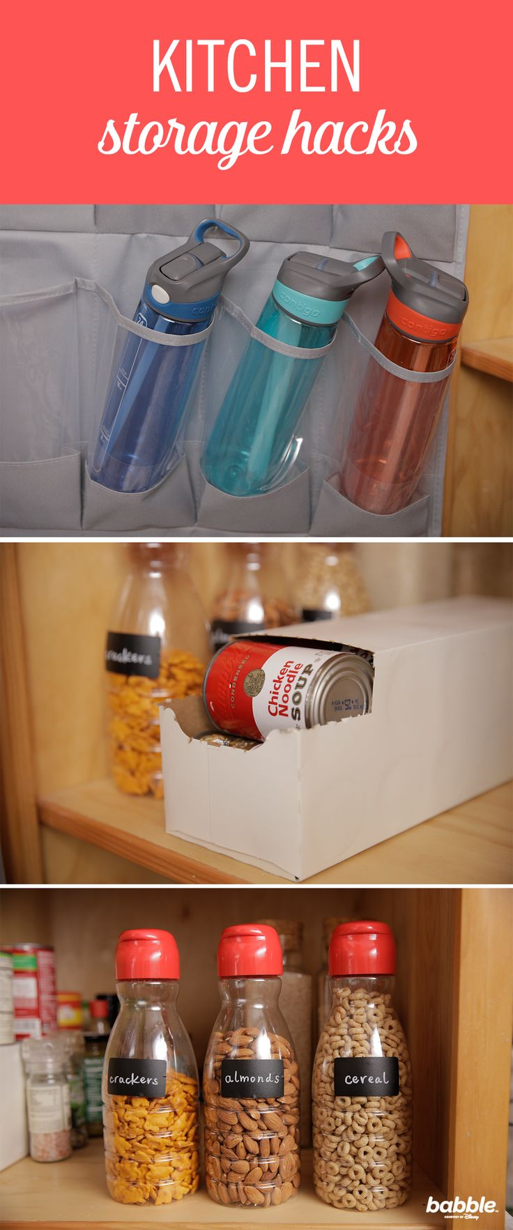 There are few places that are messier than the kitchen. To tackle the much-needed organization, try these three easy kitchen storage hacks. All you'll need is a shoe organizer, coffee creamer, and soda can box. From keeping your water bottles and cans tidy to categorizing your kids' favorite snacks, these ideas are sure to come in handy. Click for the DIY kitchen storage ideas!