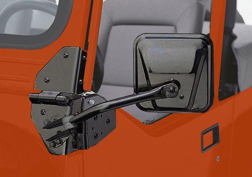 Jeep Accessory - Rampage Jeep Wrangler Black Powdercoat Side Mirrors - CJ / YJ