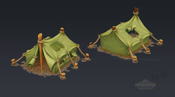 Hand Painted low poly buildings on Behance