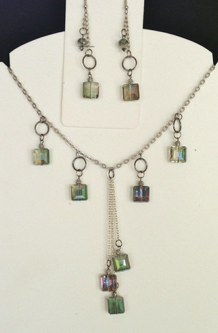Jewelled Designs - Square crystal drops necklace, $60.00 (http://www.jewelleddesigns.com/square-crystal-drops-necklace/)