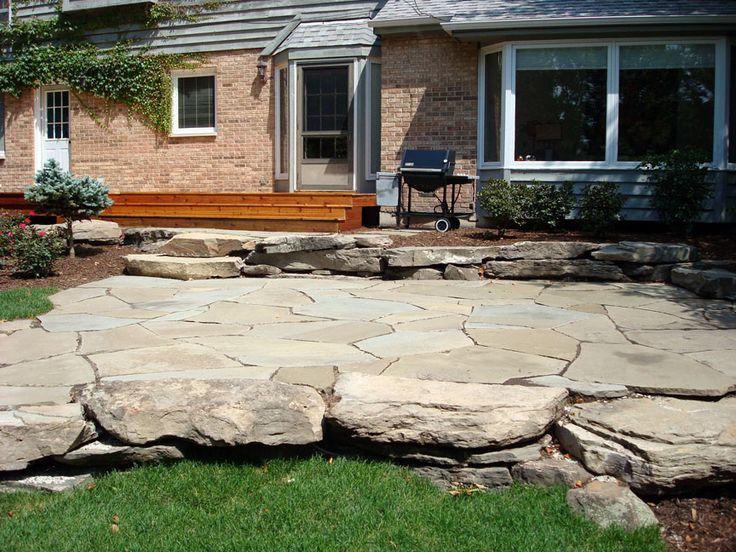 Back Yard Patio Deck Landscape Design Garden Stone