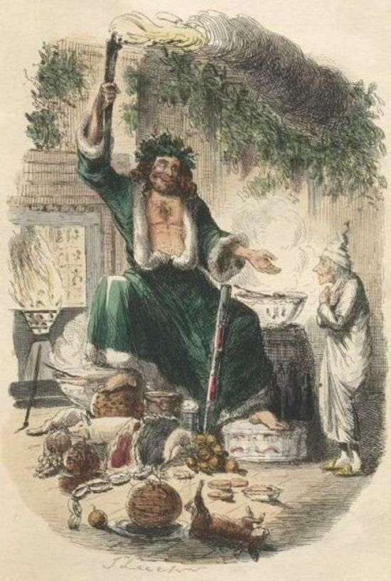 Saint Nicholas and Sinter Klaas were combined with the British version of Father Christmas to become Santa Claus. the 17th century version appeared wearing a green, fur-lined robe delivering good cheer to those around him.  ~  the Ghost of Christmas past from Charles Dickens' 'A Christmas Carol' resembles the folklore image of Father Christmas who had traditionally dressed in a green robe.: