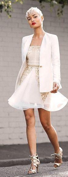 #spring #summer #style #outfits   White  Blazer + Light Pink Patterned Skater Dress