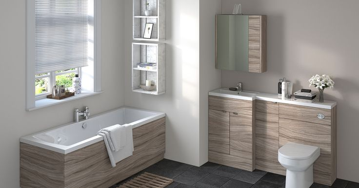 Medley Driftwood. The warm natural tone of driftwood contrasting against white pottery provides the perfect setting for any bathroom. Use colour coordinating bath and mirror panels to complete the desired look.