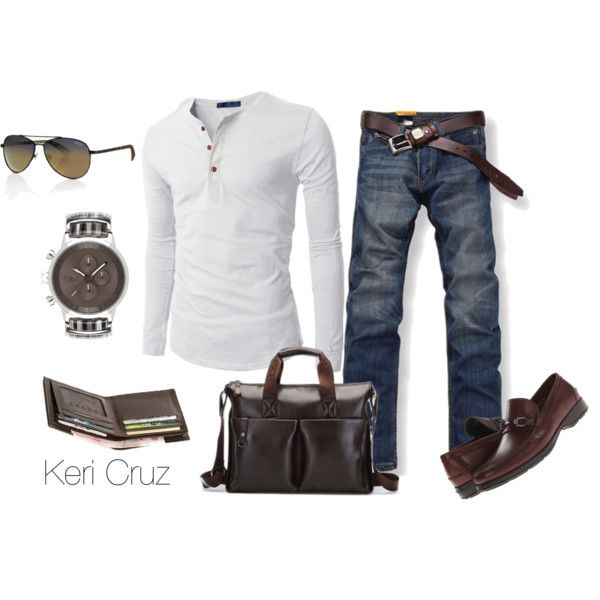 """Men's Relaxed"" by keri-cruz on Polyvore...I'd trade in the loafers for some brown or burgundy timberland boots"
