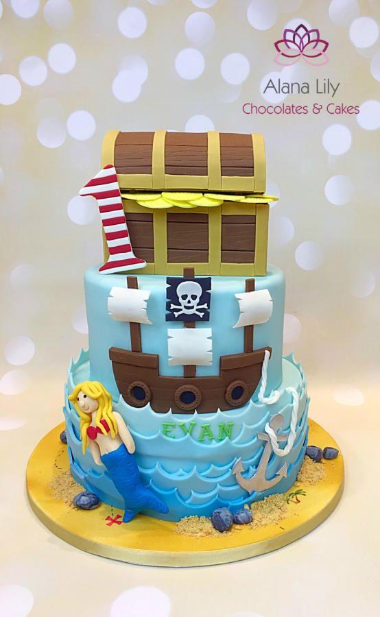 Pirate themed birthday cake by Alana Lily Chocolates & Cakes