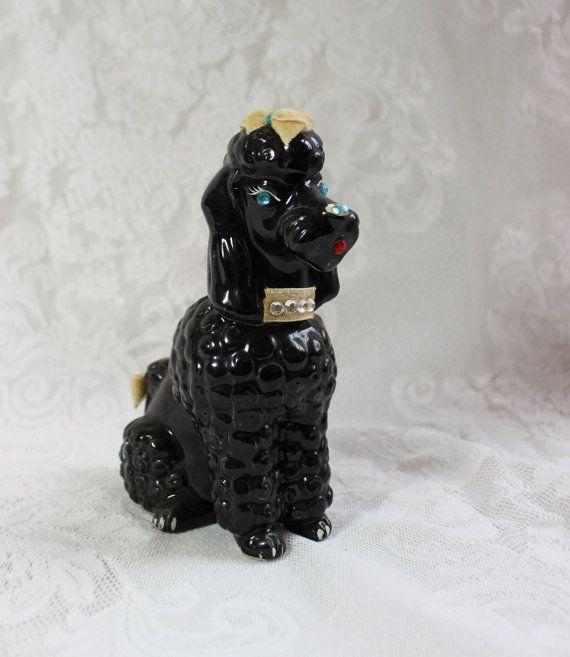 Poodle Bank Black Ceramic Vintage China Bank by BellaVitaVintage