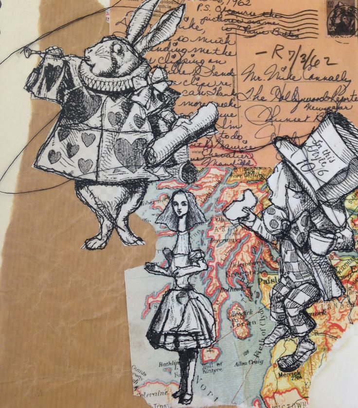 Holly Hinds: Alice in wonderland, lewis carroll, collage, layers, appliqué, stitch, vintage papers, buttons, thread, experiments, mixed media. ALevel textiles