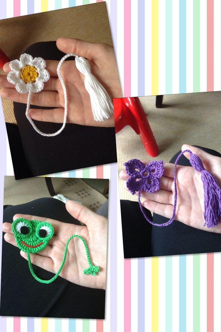Marcadores de página de diversos modelos feitos em crochê.