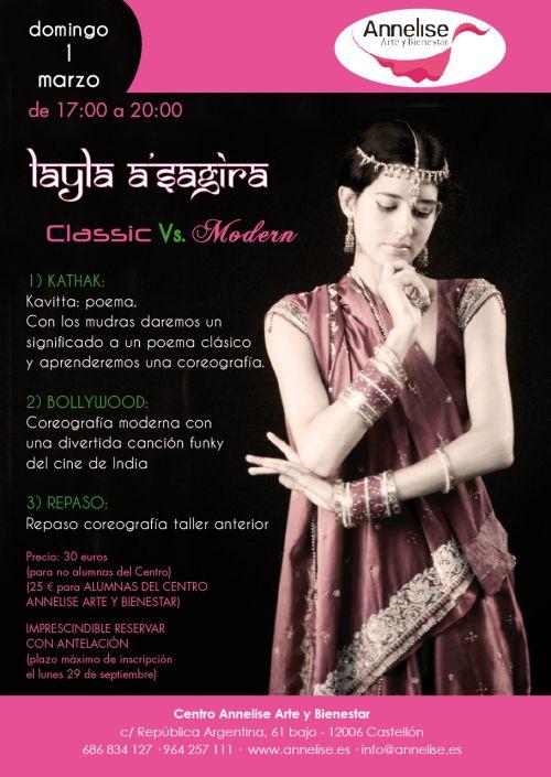 Cartel para curso de Kathak y Bollywood