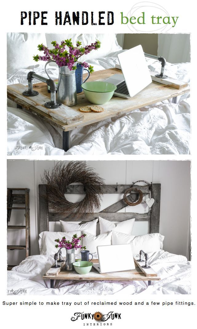 Tablett aus Holz & Rohren selbstgebaut. Sieht toll aus oder?! #DIY Springing up the bedroom with a pipe handled bed tray.