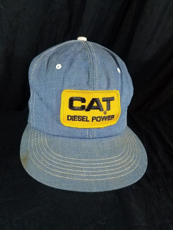 Vtg Denim CAT Caterpillar Hat Usa Made Diesel Power K