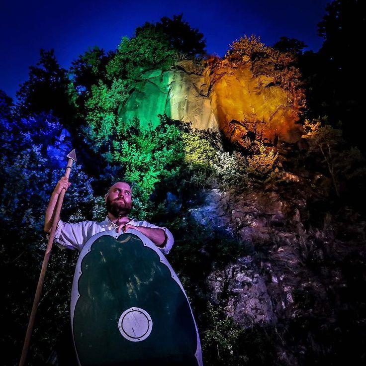Alex the Styrian warrior guarding the Irish flag at the #steirischirischkeltisch festival. #travel #tieschen #photography #canong7x #austria