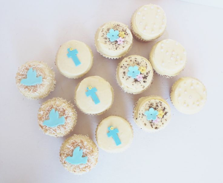 Baptism Cupcakes by CarlasCakes best in Ottawa check out others at www.CarlasCakesOnline.com