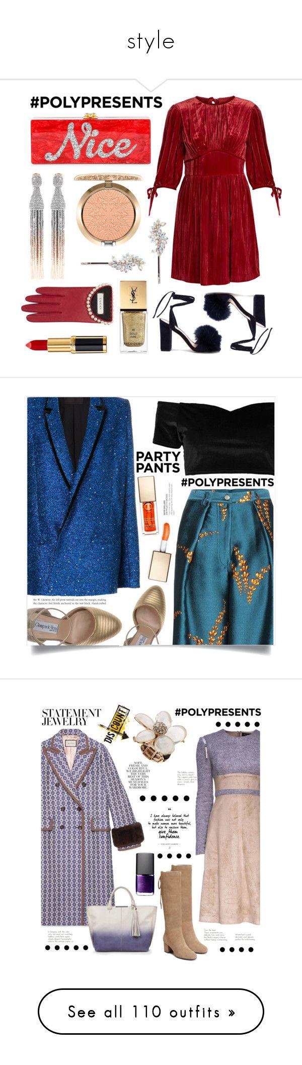 """style"" by andreiasemedo ❤ liked on Polyvore featuring Loeffler Randall, Edie Parker, Oscar de la Renta, Balmain, Yves Saint Laurent, MAC Cosmetics, Gucci, Forever 21, AlexaChung and polyPresents"