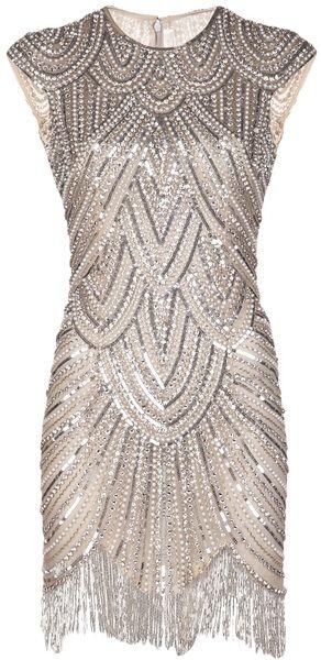 Naeem Khan Embellished Fringe Dress! Love it for NYE or a 1920's party