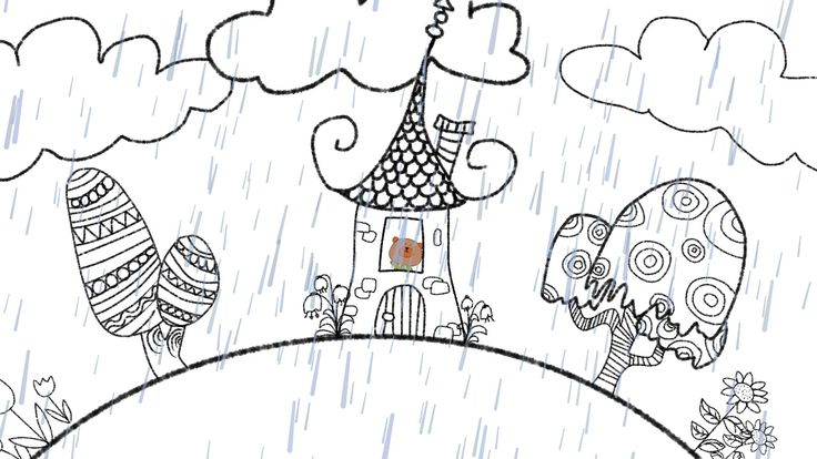 """We are excited to collaborate with ELF Learning for a new kids video! Here is sketch 1 for our upcoming animation of the song """"Rain, Rain, Go Away""""."""