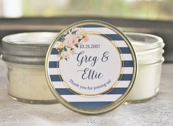 Navy and Blush Bridal Shower Favor/ Set of 12 Candle Favor / Steel Blue & Blush Wedding/ Navy Gold and Blush Wedding /  Candle Favor