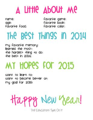 2015 New Year Celebration Printables for Kids from Our Spin On It from Our Spin On It on TeachersNotebook.com (4 pages) - New Year's Interview, World of the Year and 2015 Craft to celebrate the year year with kids