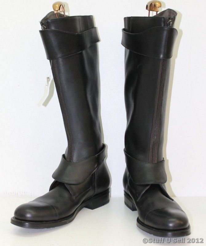 NEW SALVATORE FERRAGAMO Mens Black Knee High Thick Riding Boots Size Uk 11 | eBay