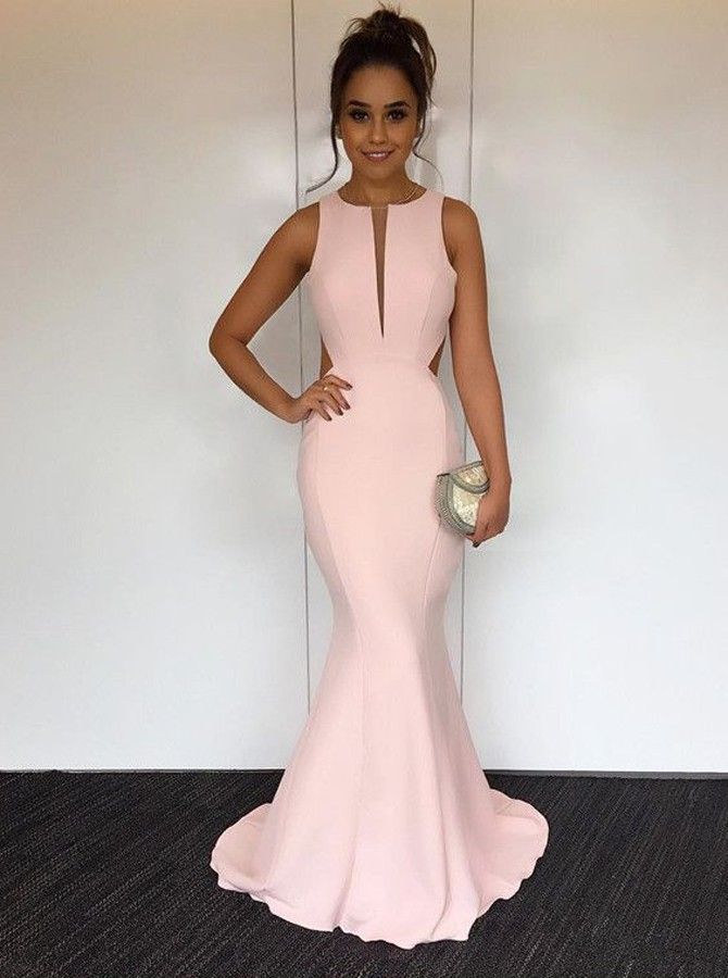 Buy Mermaid Round Neck Sweep Train Open Back Pearl Pink Prom Dress  , from  for $259.99 only in Main Website.