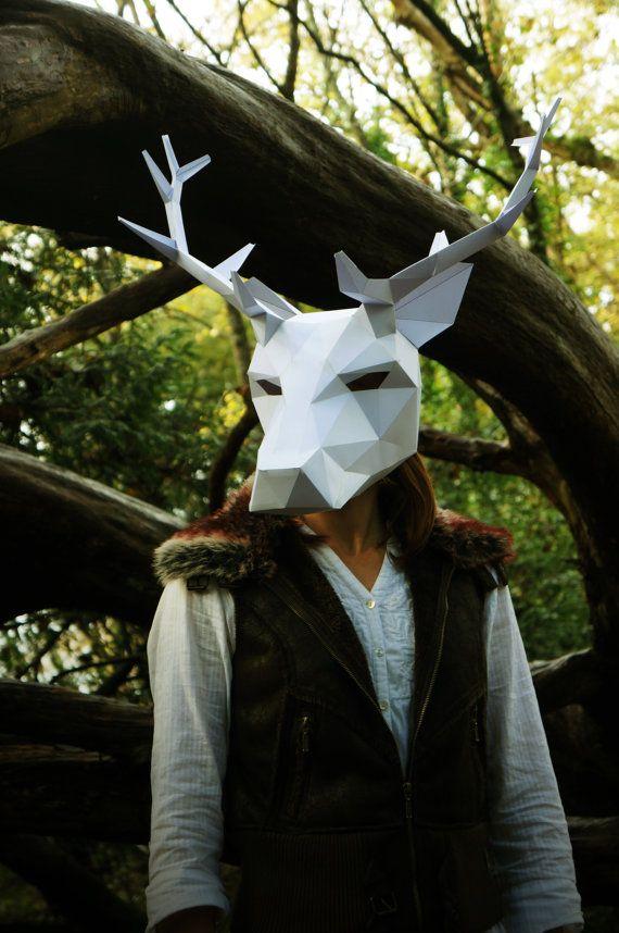 Máscara completa de ciervo o Reno - haga su propio usando este simple PDF Descargar
