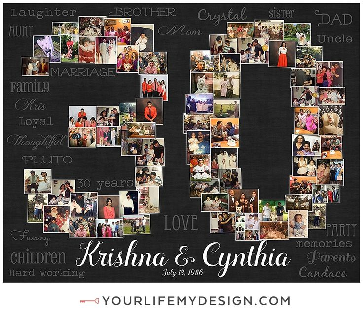 30th Wedding Anniversary Gift Birthday Decoration For Wife Women Photo Collage 30 Year
