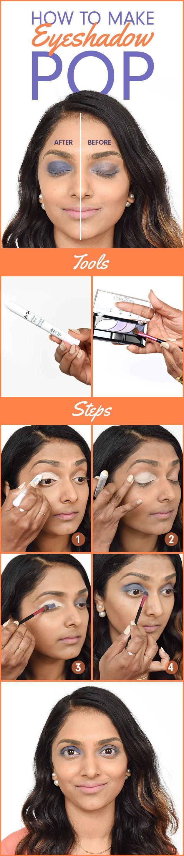 Bereite Deine Augen mit weißem Eyeliner oder Lidschatten vor, damit bunte Lidschatten und Eyeliner noch mehr leuchten.