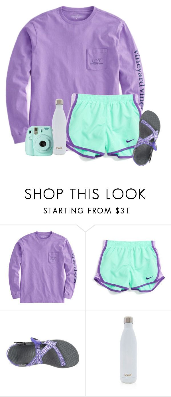 """Untitled #95"" by ellienoonan ❤ liked on Polyvore featuring NIKE, Chaco, S'well and Fujifilm"