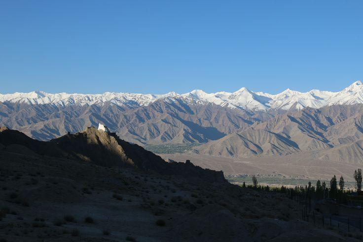 view to Stok Kangri and Leh on the way to the Khardung La