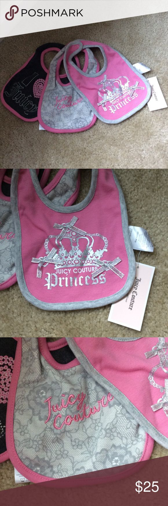 Juicy couture baby bibs Super cute brand new baby bibs! We're a gift to a friend but she already had them! Juicy Couture Accessories Bibs
