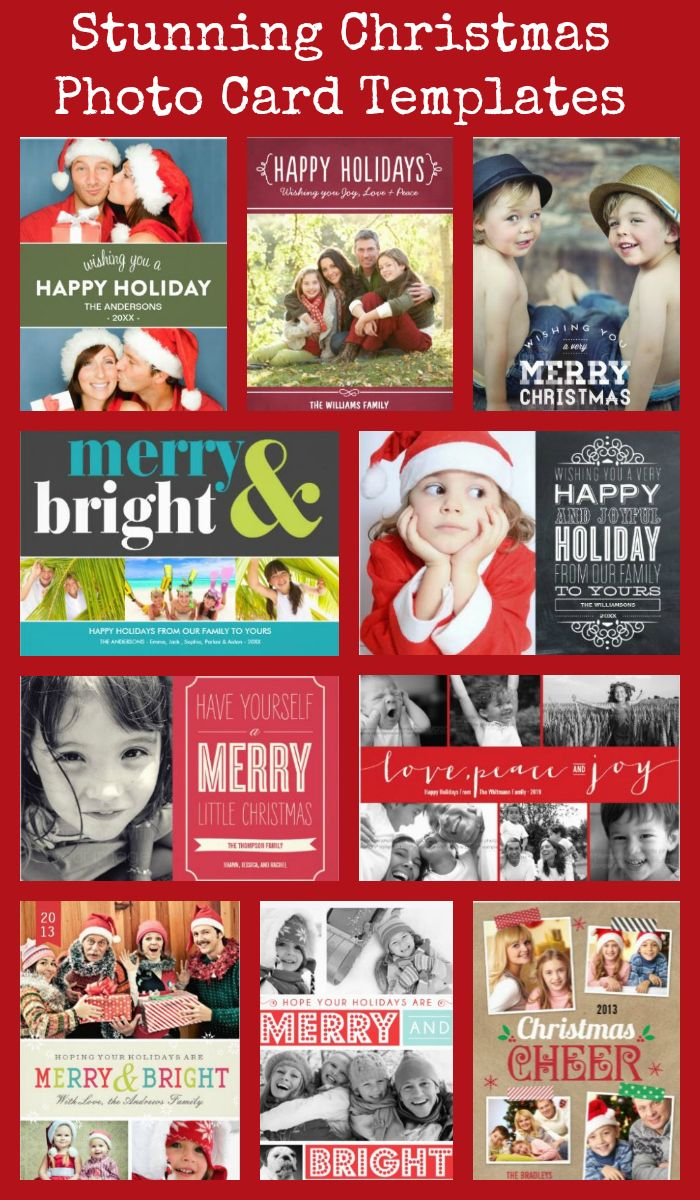 Stunning Christmas Holiday Photo Card Templates for the perfect family photo Xmas cards.