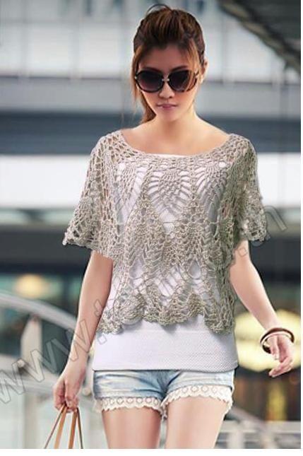 Crochetemoda: Crochet - Blusa Cinza V