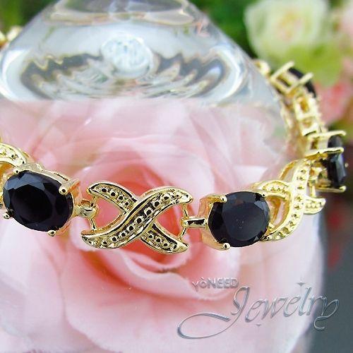 Black Sapphire 18K Yellow Gold Plated Oval Cut Carnival Tennis Bracelet