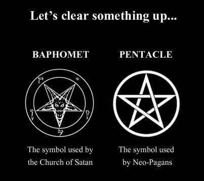 Although in Wicca, the inverted pentagram is used to represent the horned God, and has nothing whatsoever to do with Satanists.