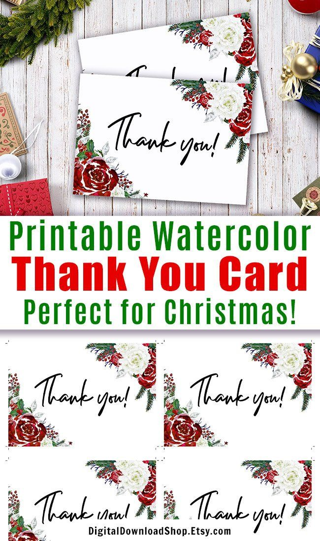 Printable Thank You Card Printable Thank You Christmas Card Etsy Printable Thank You Cards Thank You Card Template Thank You Cards