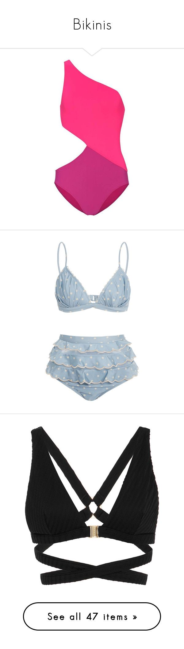 """""""Bikinis"""" by ceciliecoelho ❤ liked on Polyvore featuring swimwear, one-piece swimsuits, pink, swim costume, one shoulder bathing suit, araks, one piece swimsuit, pink swim suit, bikinis and swim"""