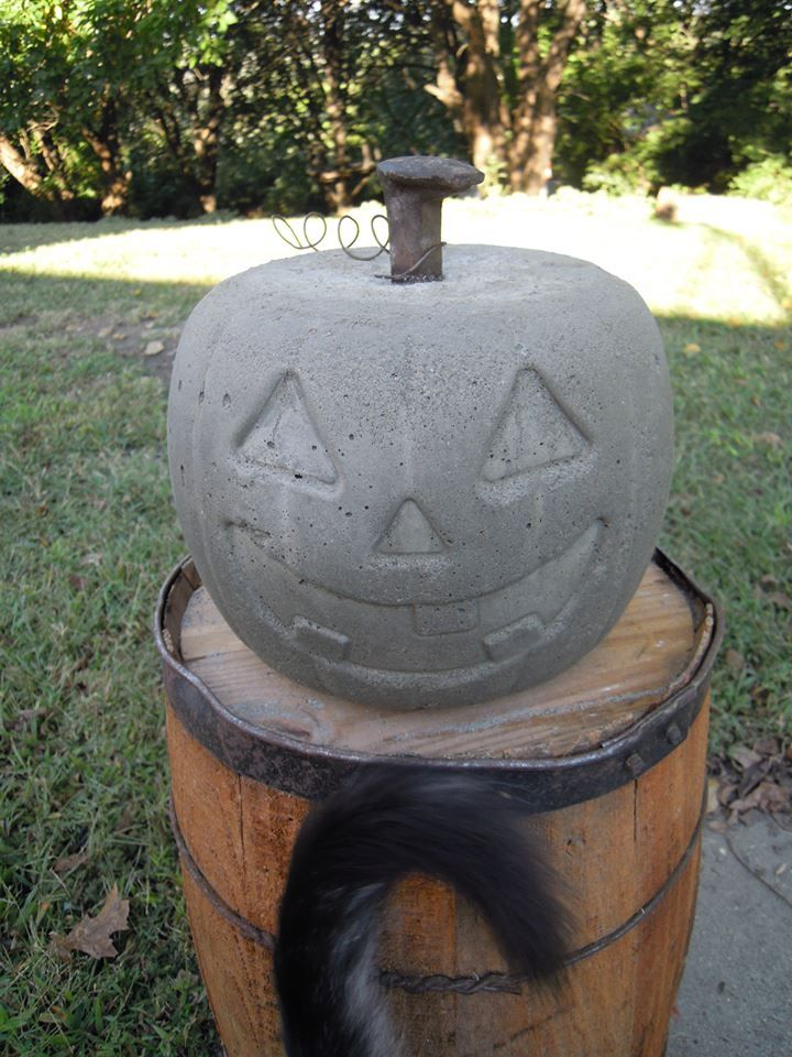 Concrete Pumpkin with Railroad Spike Stem | For The ...
