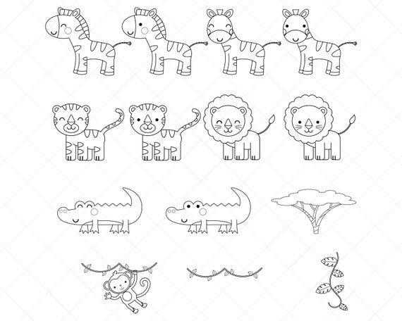 Safari Animali Clipart Francobolli Digitali Bianco E Nero Linea Arte Pagina Da Colorare Png Eps Timbri Digitali Festa Sul La Giungla Pagine Da Colorare