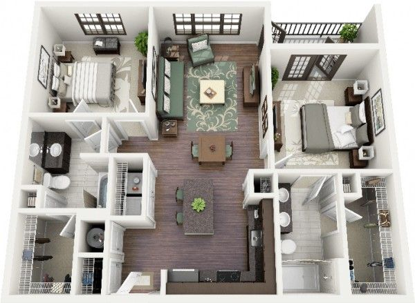 2 Bedroom Apartment House Plans In 2021 Floor Plan Design Apartment Layout Apartment Design