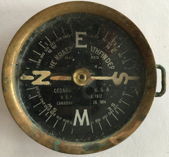 Antique Kraemer Pathfinder Compass Fob Made By The U S Compass Company Of Cedarburg Wisconsin 1912 1914 Patents A Vintage Compass Compass Pocket Compass